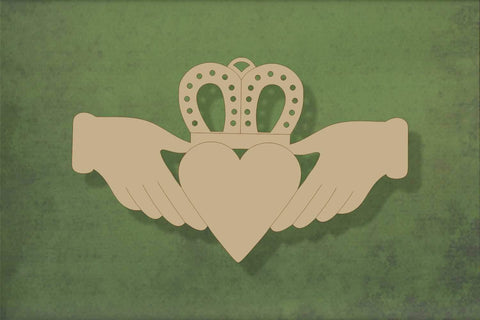 Laser cut, blank wooden Claddagh shape for craft