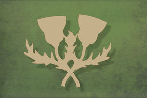 Laser cut, blank wooden Double thistle shape for craft