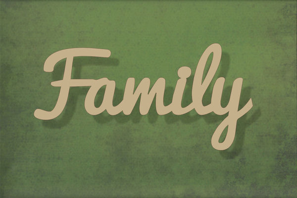 Laser cut, blank wooden Family Text shape for craft