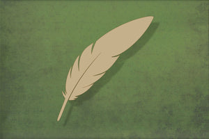 Laser cut, blank wooden Feather 2 with slit shape for craft