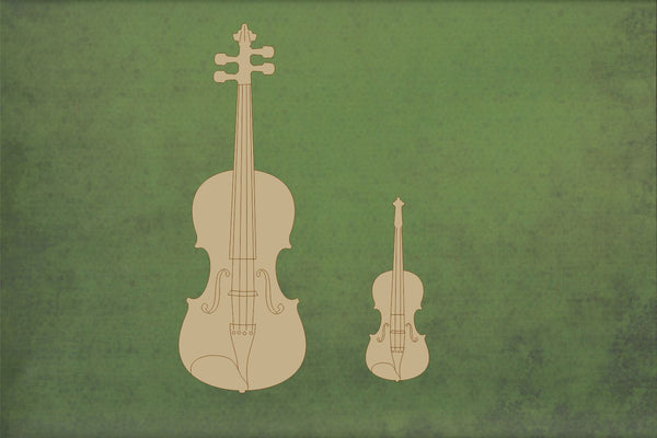 Laser cut, blank wooden Fiddle etched shape for craft
