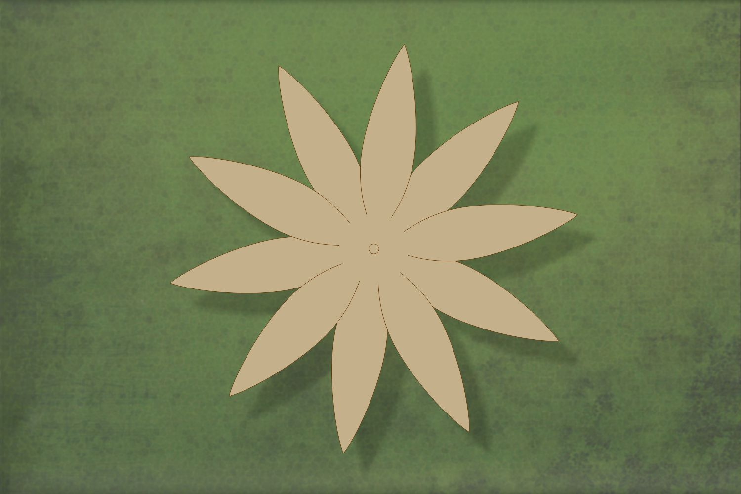 Laser cut, blank wooden Flower 10 petal shape for craft