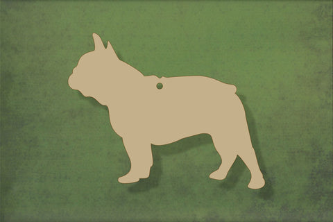 Laser cut, blank wooden French bulldog shape for craft