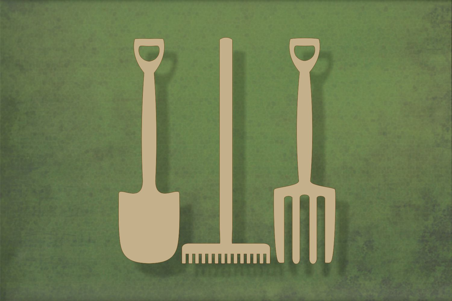 Laser cut, blank wooden Garden tools - spade fork and rake shape for craft