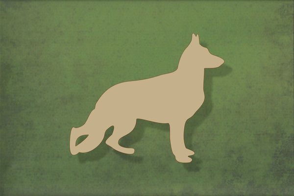 Laser cut, blank wooden German shepherd shape for craft