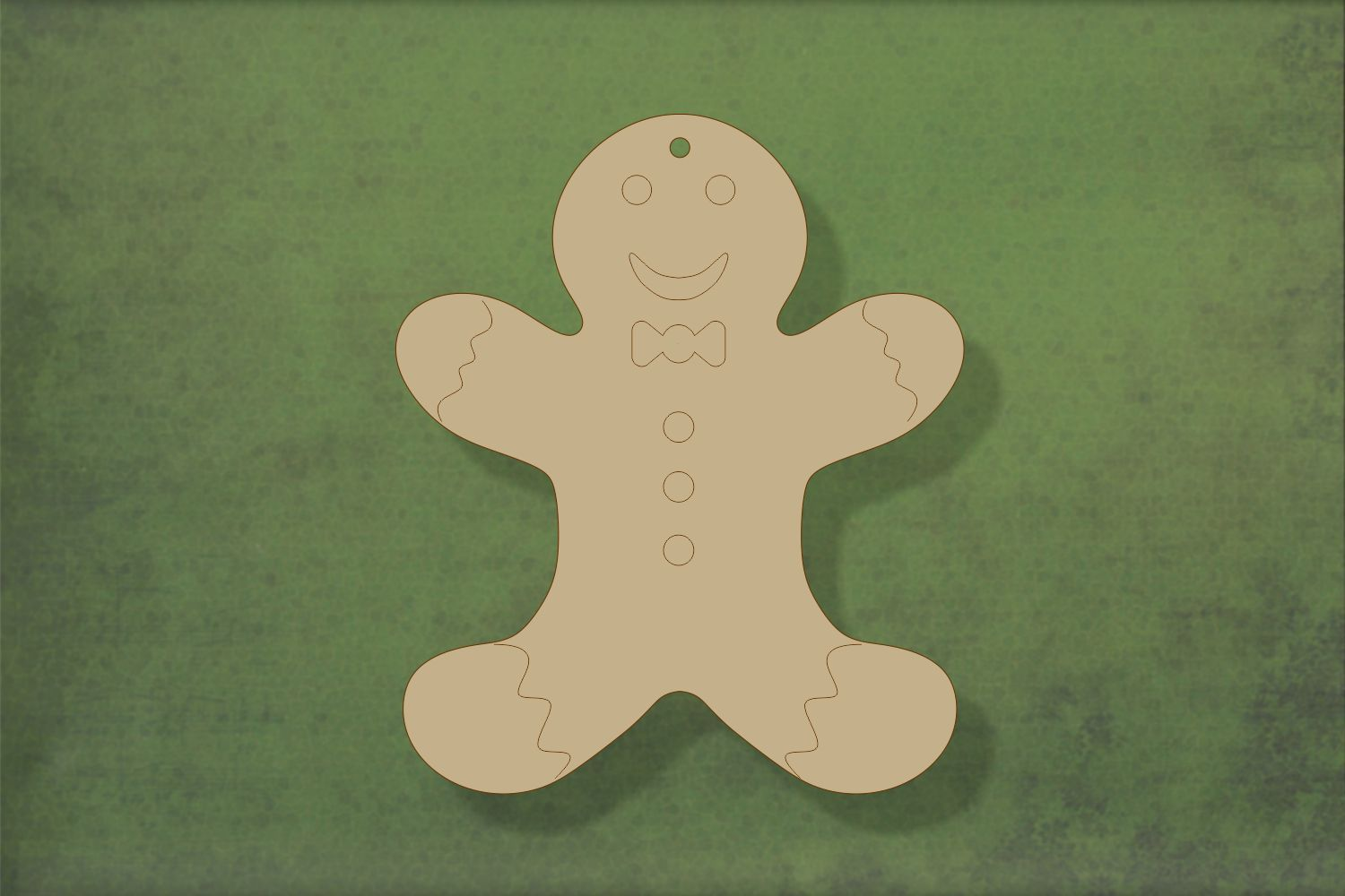 Laser cut, blank wooden Gingerbread person 1 arms up with etched detail shape for craft
