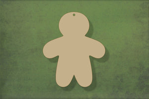 Laser cut, blank wooden Gingerbread person 2 arms down plain shape for craft