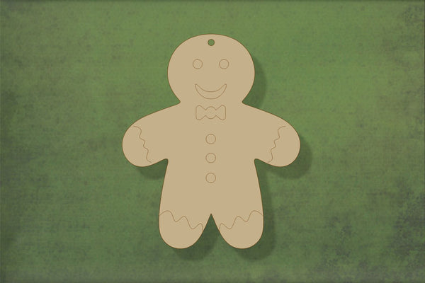 Laser cut, blank wooden Gingerbread person 2 arms down with etched detail shape for craft