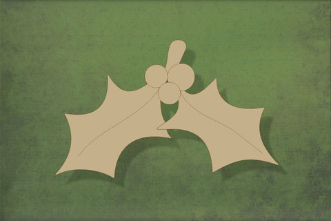 Laser cut, blank wooden Holly etched shape for craft
