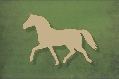 Laser cut, blank wooden Horse trotting shape for craft