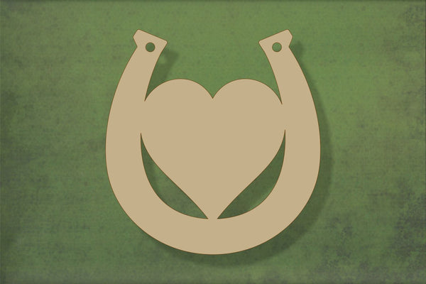 Laser cut, blank wooden Horseshoe with centre heart shape for craft