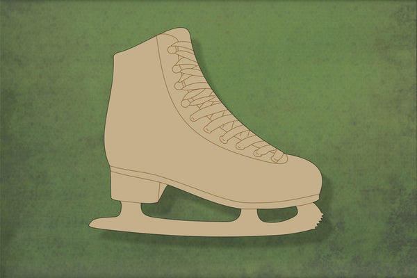 Laser cut, blank wooden Ice-skate with etched detail shape for craft