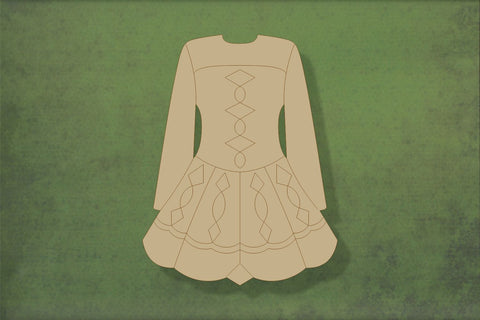 Laser cut, blank wooden Irish dress with etched detail shape for craft