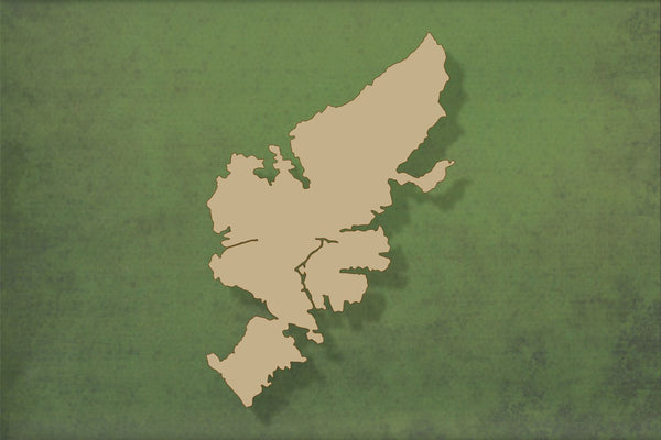 Laser cut, blank wooden Isle of Lewis shape for craft