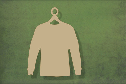 Laser cut, blank wooden Jumper on hanger shape for craft