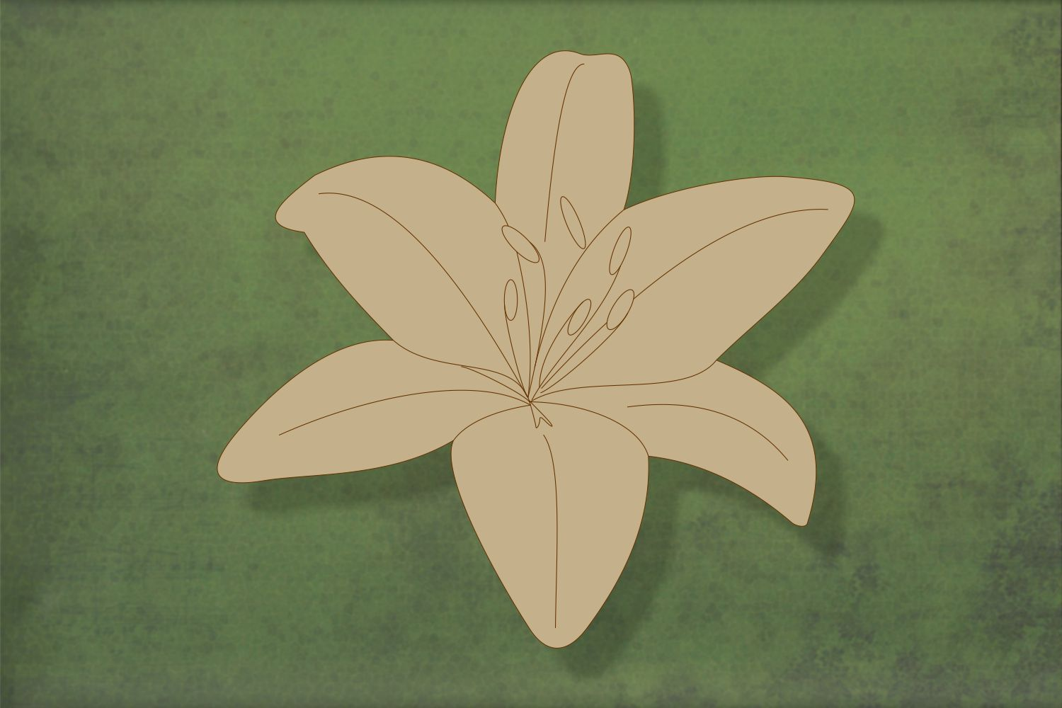 Laser cut, blank wooden Lily with etched detail shape for craft