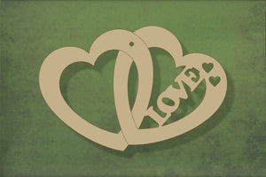Laser cut, blank wooden Love text in double heart shape for craft