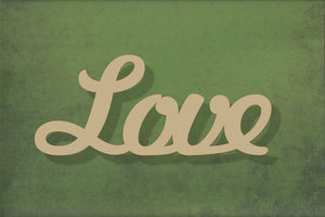 Laser cut, blank wooden Love text shape for craft