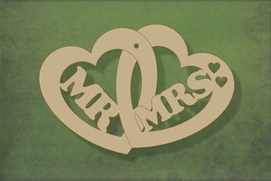 Laser cut, blank wooden Mr and Mrs in double heart shape for craft