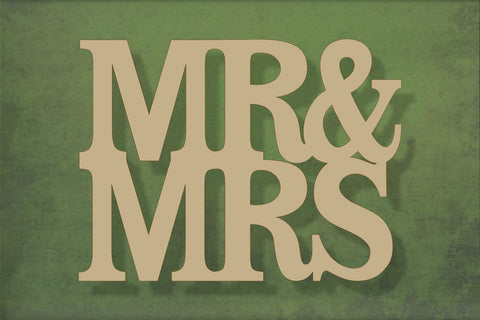 Laser cut, blank wooden Mr & Mrs text shape for craft