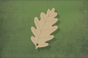 Laser cut, blank wooden Oak leaf with etched detail shape for craft