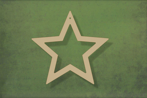 Laser cut, blank wooden Open Star shape for craft