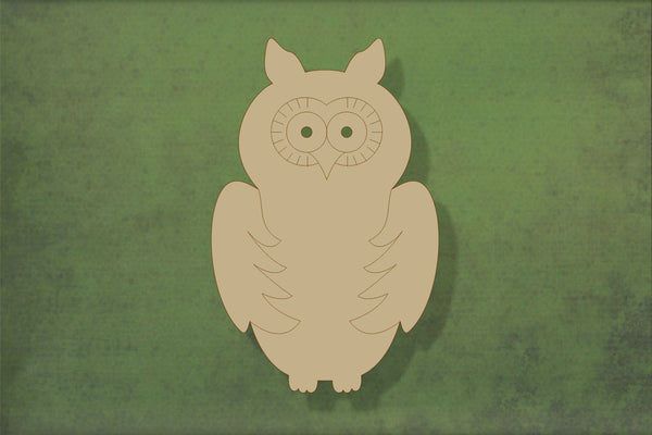 Laser cut, blank wooden Owl 2 with etched detail shape for craft