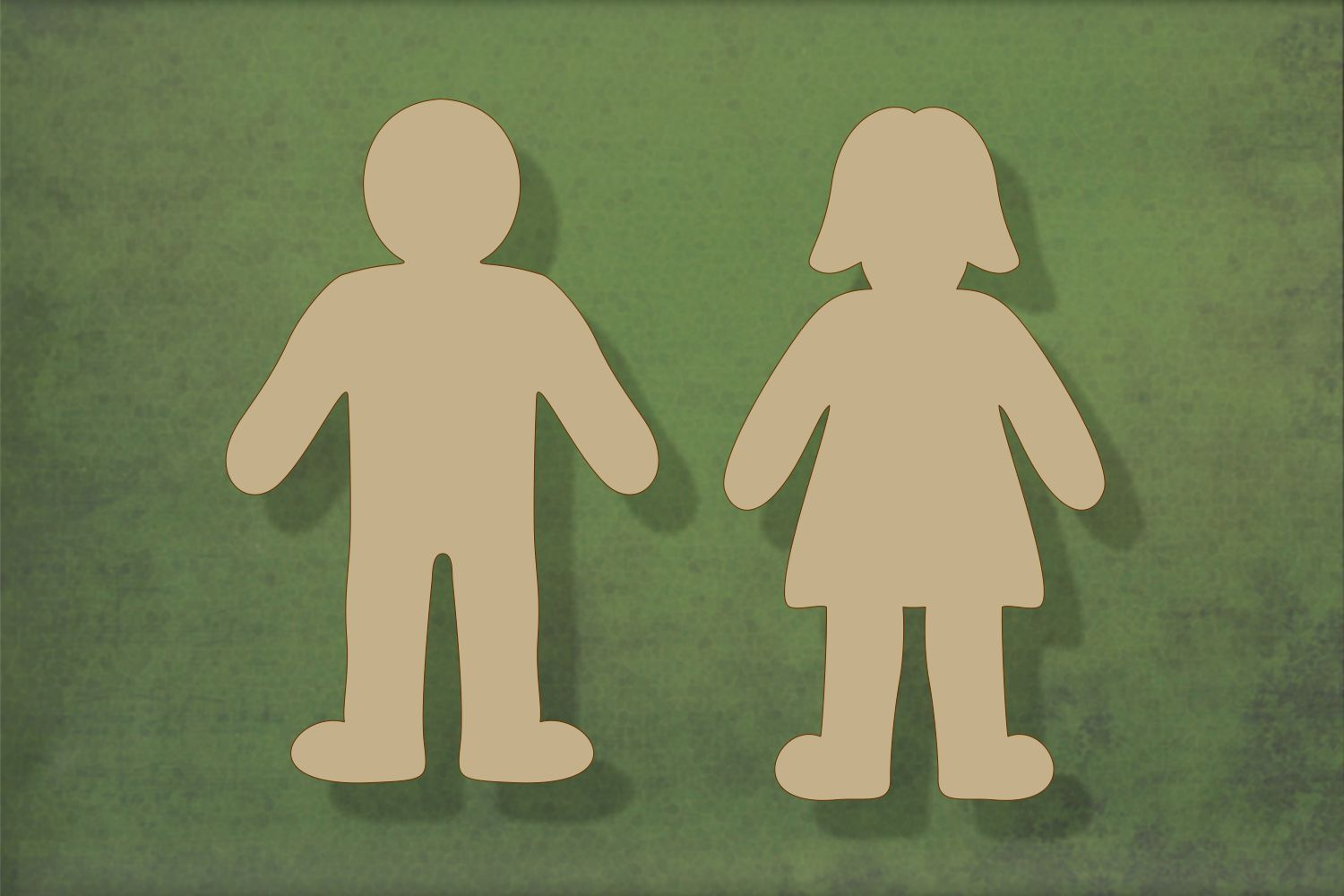Laser cut, blank wooden People mk2 pair shape for craft