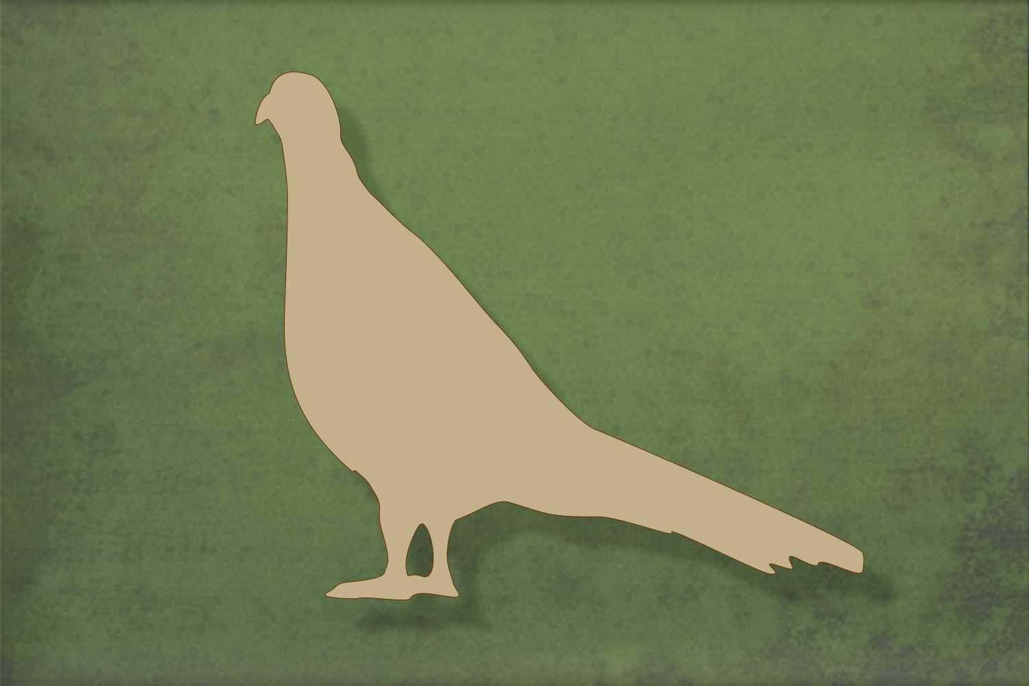 Laser cut, blank wooden Pheasant 1 with tail down shape for craft