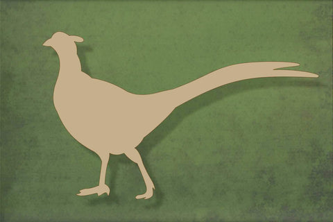 Laser cut, blank wooden Pheasant 2 with tail up shape for craft