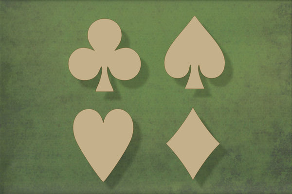 Laser cut, blank wooden Playing card symbols shape for craft