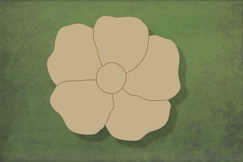 Laser cut, blank wooden Poppy 4 with etched petals shape for craft