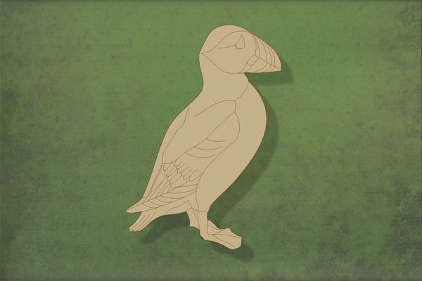 Laser cut, blank wooden Puffin with etched detail shape for craft