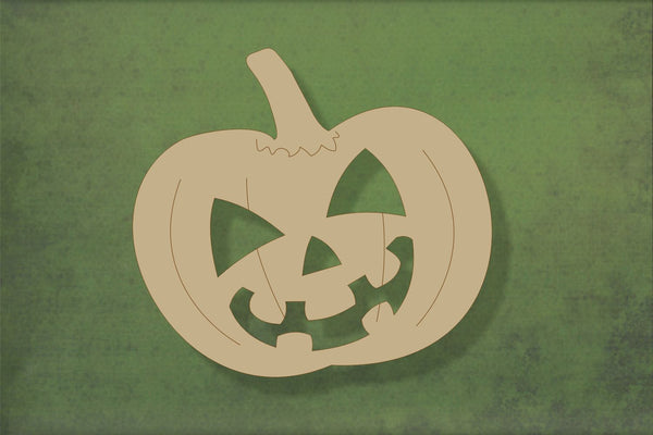 Laser cut, blank wooden Pumpkin 1 with cut out halloween face and etched detail shape for craft