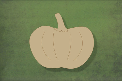 Laser cut, blank wooden Pumpkin 2 with etched detail shape for craft