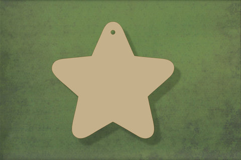 Laser cut, blank wooden Rounded star shape for craft