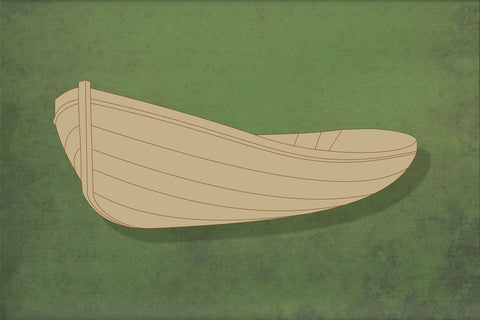 Laser cut, blank wooden Rowing boat 1 with etched detail shape for craft