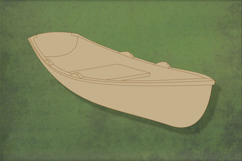 Laser cut, blank wooden Rowing boat 2 with etched detail shape for craft