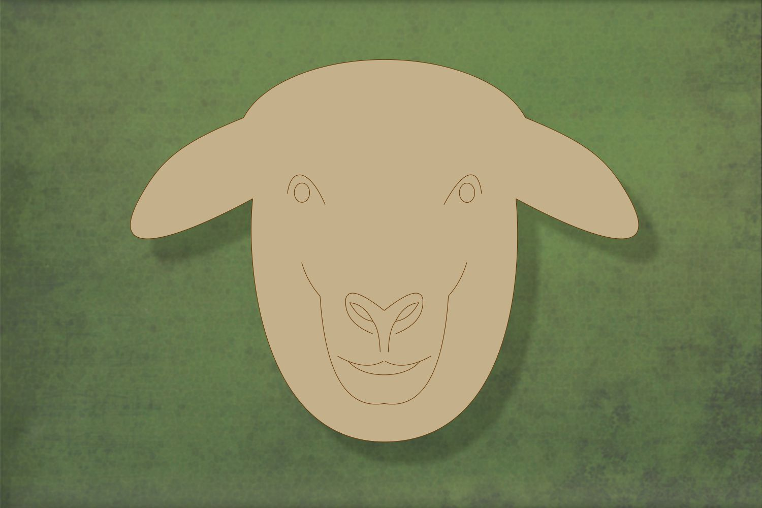 Laser cut, blank wooden Sheep head with etched face shape for craft