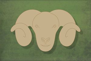 Laser cut, blank wooden Sheep head with horns and etched face shape for craft