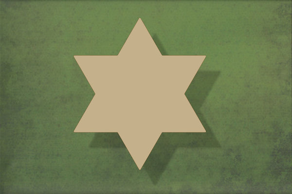 Laser cut, blank wooden Six point star shape for craft