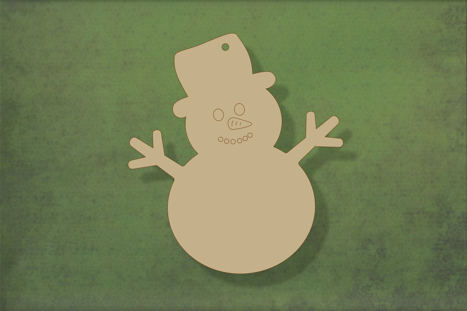 Laser cut, blank wooden Snowman 2 with etched face shape for craft