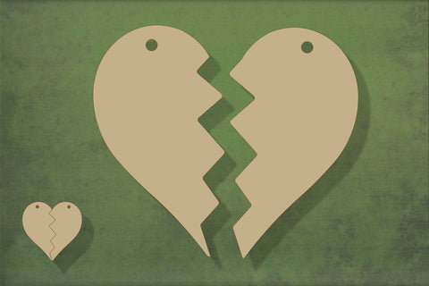 Laser cut, blank wooden Split heart with two pieces shape for craft