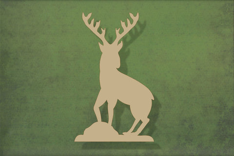 Laser cut, blank wooden Stag on rocks shape for craft