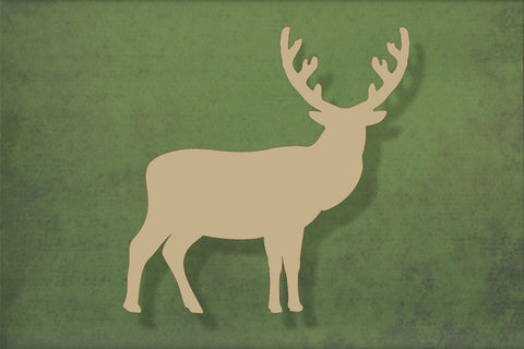 Laser cut, blank wooden Standing stag 2 shape for craft