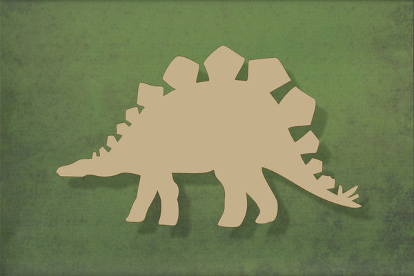 Laser cut, blank wooden Stegosaurus dinosaur shape for craft