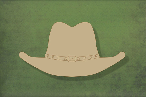 Laser cut, blank wooden Stetson cowboy hat with etched detail shape for craft