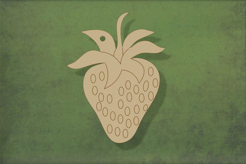 Laser cut, blank wooden Strawberry with etched detail shape for craft