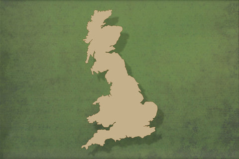 Laser cut, blank wooden UK map outline shape for craft