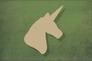 Laser cut, blank wooden Unicorn head shape for craft
